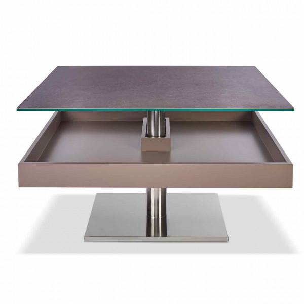Ronald Schmitt – Couchtisch Janas K 471 | Tischplatte Keramik Focus Piombo, Sockel Edelstahl, geöffnet
