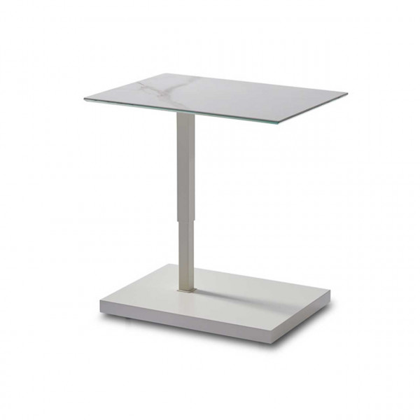 Ronald Schmitt – Beistelltisch Kolo K 729 - oben | Tischplatte Keramik Calacatta, Sockel MDF weiß