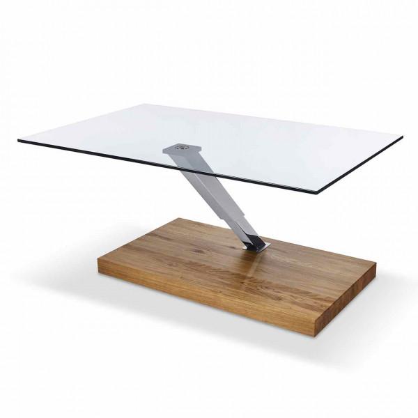 Ronald Schmitt – Couchtisch Ixus K 492   Tischplatte Floatglas, Sockel Wildeiche Natur, Säule Chrom, oben