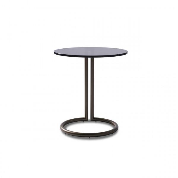 Ronald Schmitt – Beistelltisch Circle K 95 - front   Tischplatte Parsolglas grau, Metallgestall bronze