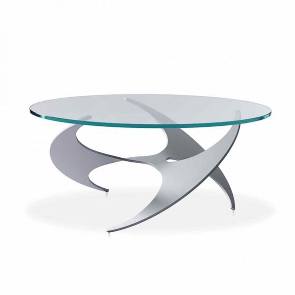 Ronald Schmitt – Couchtisch K9009   Tischplatte Optiwhite Glas, Gestell Aluminium gepulvert Silber