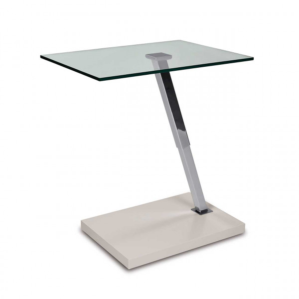 Ronald Schmitt – Beistelltisch James K 498 – oben   Tischplatte Floatglas, Sockel MDF Weiß