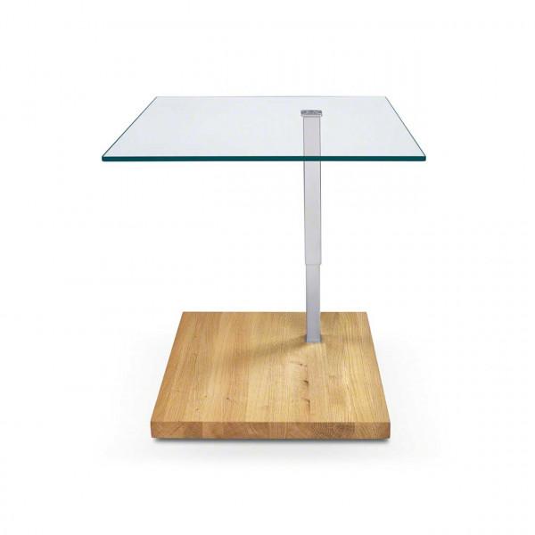 Ronald Schmitt – Beistelltisch Jacky K 926 - oben   Tischplatte Floatglas, Sockel WIldeiche