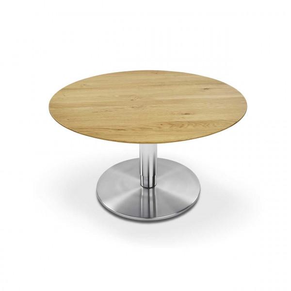 Ronald Schmitt - Dualo P532 rund, unten | 90 cm Durchmesser Tischplatte Wildeiche Bianco, Bodenplatte rund Edelstahl
