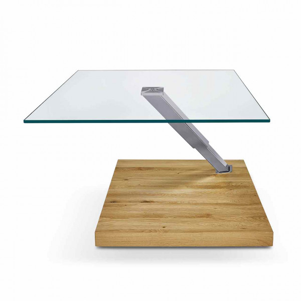 Ronald Schmitt – Couchtisch Ixor K 491   Tischplatte Floatglas, Sockel Wildeiche Natur, oben