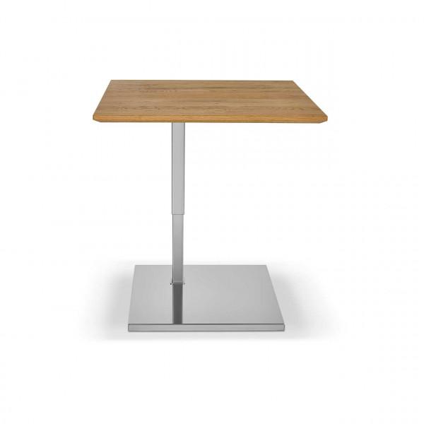 Ronald Schmitt – Beistelltisch Kolo K 726 - oben   Tischplatte Wildeiche Natur, Sockel Edelstahl geschliffen