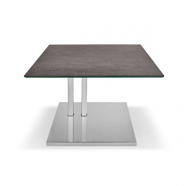 Ronald Schmitt - Beistelltisch K 525   Tischplatte Keramik Zement anthrazit, Sockel Edelstahl