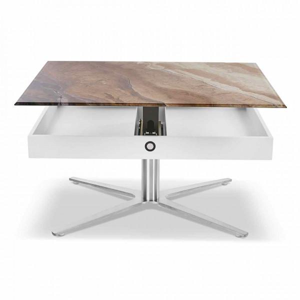 Ronald Schmitt – Couchtisch Sesam K 585 | Tischplatte Illusion Stone, Sternfuß Edelstahloptik, geöffnet