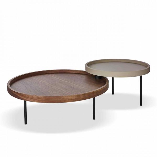 Ronald Schmitt – Couchtisch Luna H 630 | linker Tisch: Tischplatte Nussbaum, rechter Tisch: Tischplatte Standardfarbe Bronze, Metallgestell schwarz