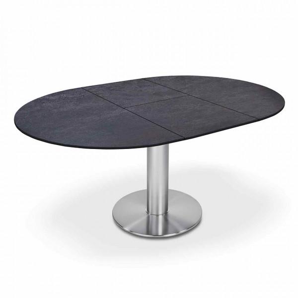 Ronald Schmitt – Esstisch Linda P 4510/E | Tischplatte Keramik Zement anthrazit, ausgezogen