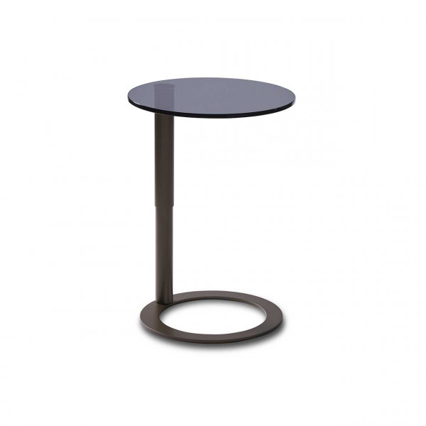 Ronald Schmitt – Beistelltisch Rondo K 441 – oben   Tischplatte Parsolglas grau, Metallgestell bronze