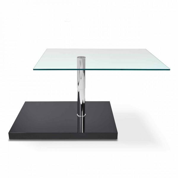 Couchtisch Isus K 473   Tischplatte Floatglas, Sockel MDF schwarz, rechteckig, oben