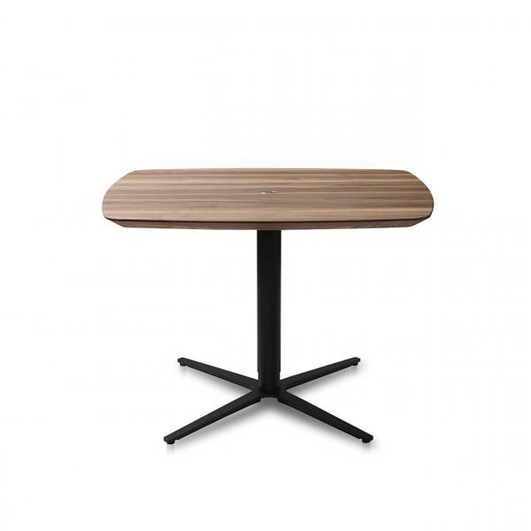 Ronald Schmitt - Triplex P432   90x90 cm, Tischplatte Nussbaum, Sternfuß schwarz