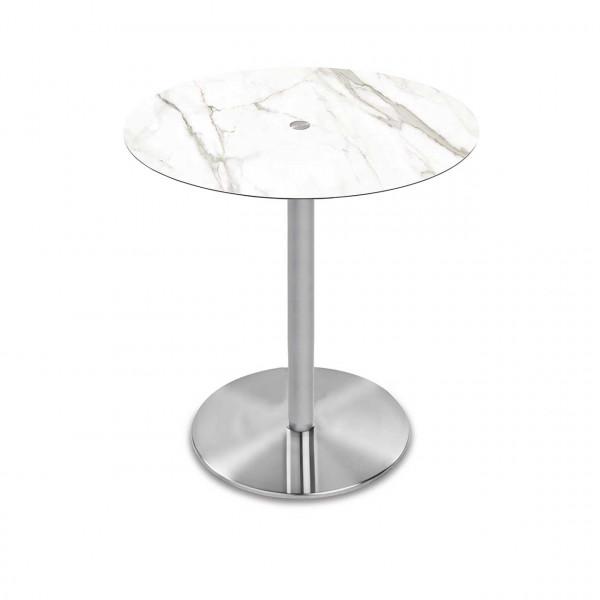 Ronald Schmitt - Triplex P431 rund | 90cm, Tischplatte Optiwhite-Nano Calacatta, Bodenplatte rund Edelstahl mattiert