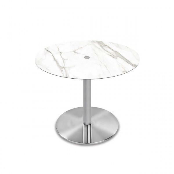 Ronald Schmitt – System Triplex P430 | Tischplatte rund Calacatta, Bodenplatte rund