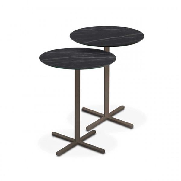 Ronald Schmitt – Beistelltisch Twin K 445 - Zweisatz | Tischplatte Keramik Noir, Gestell Bronze