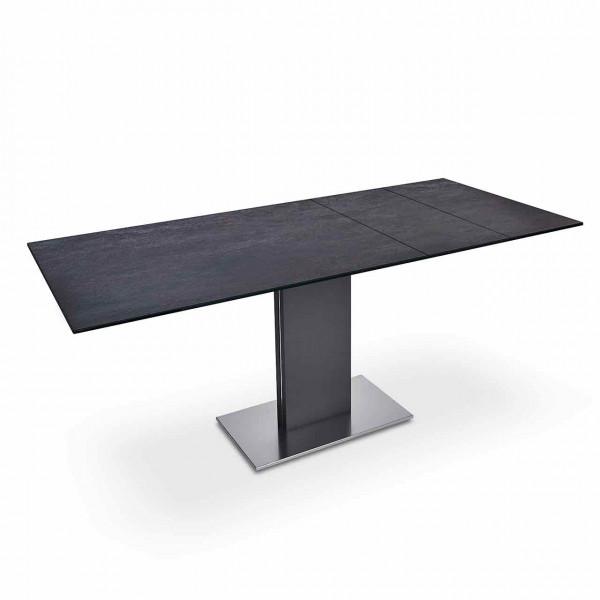 Ronald Schmitt – Esstisch Bingo P 4600 E | Tischplatte Keramik Zement anthrazit, ausgezogen
