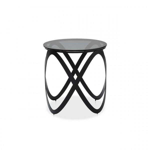Ronald Schmitt – Beistelltisch Candy K 900 – 45 cm   Tischplatte Parsolglas grau, Gestell schwarz