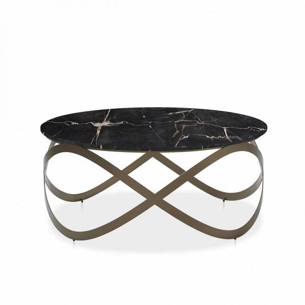 Ronald Schmitt – Couchtisch Candy K 900   Tischplatte Portoro, Sockel bronze