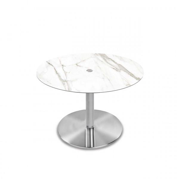 Ronald Schmitt - Triplex P432 rund   90cm, Tischplatte Optiwhite-Nano Calacatta, Bodenplatte rund Edelstahl mattiert