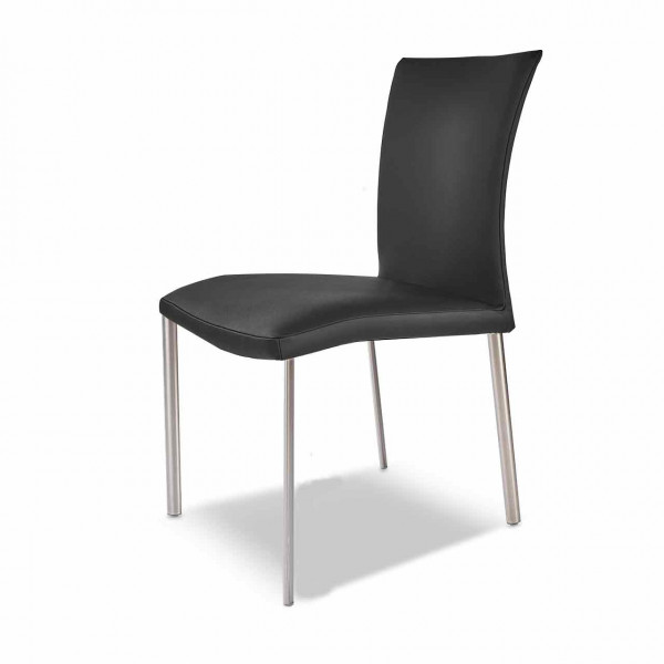 Ronald Schmitt – Stuhl MIRSA RST 211 4-Fuß ohne Armlehne | Bezug Leder TOLEDO Nero
