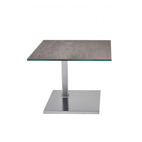 Ronald Schmitt – Beistelltisch Duett K 526 - unten | Tischplatte Zement anthrazit, Sockel Edelstahl geschliffen
