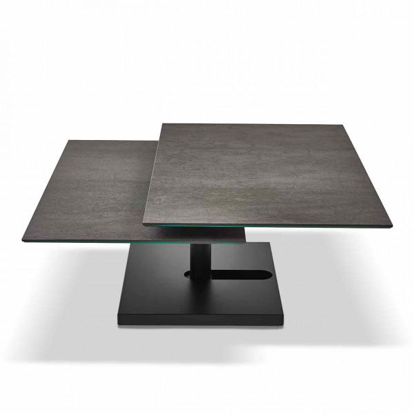 Ronald Schmitt – Couchtisch Quichotte K 666   Tischplatte Keramik Ossido Nero, Sockel schwarz